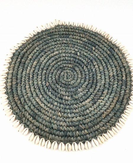 Placemat zeegras schelpjes grijs