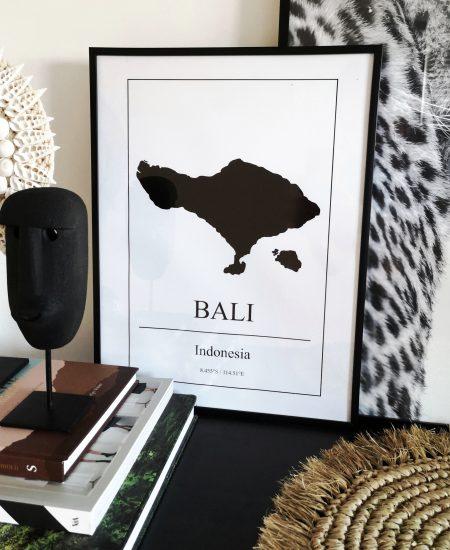 Bali poster map wereldkaart