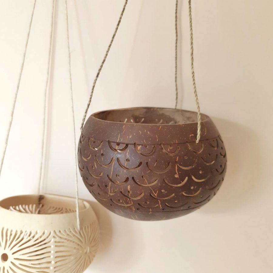 Kokosnoot hanger theelicht bali donkerbruin