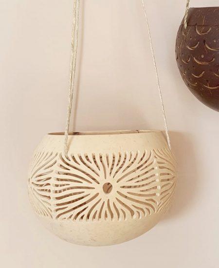 Kokosnoot hanger theelicht bali lichtbruin