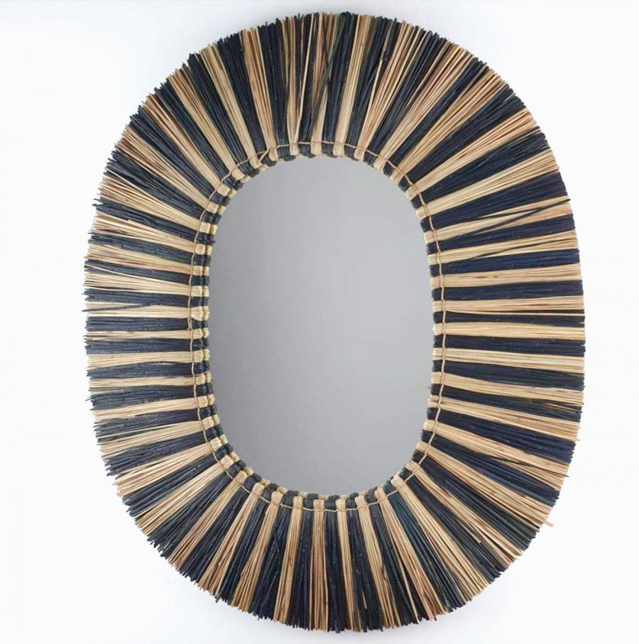 Raffia spiegel zebra bali