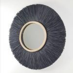 Spiegel raffia zwart bali