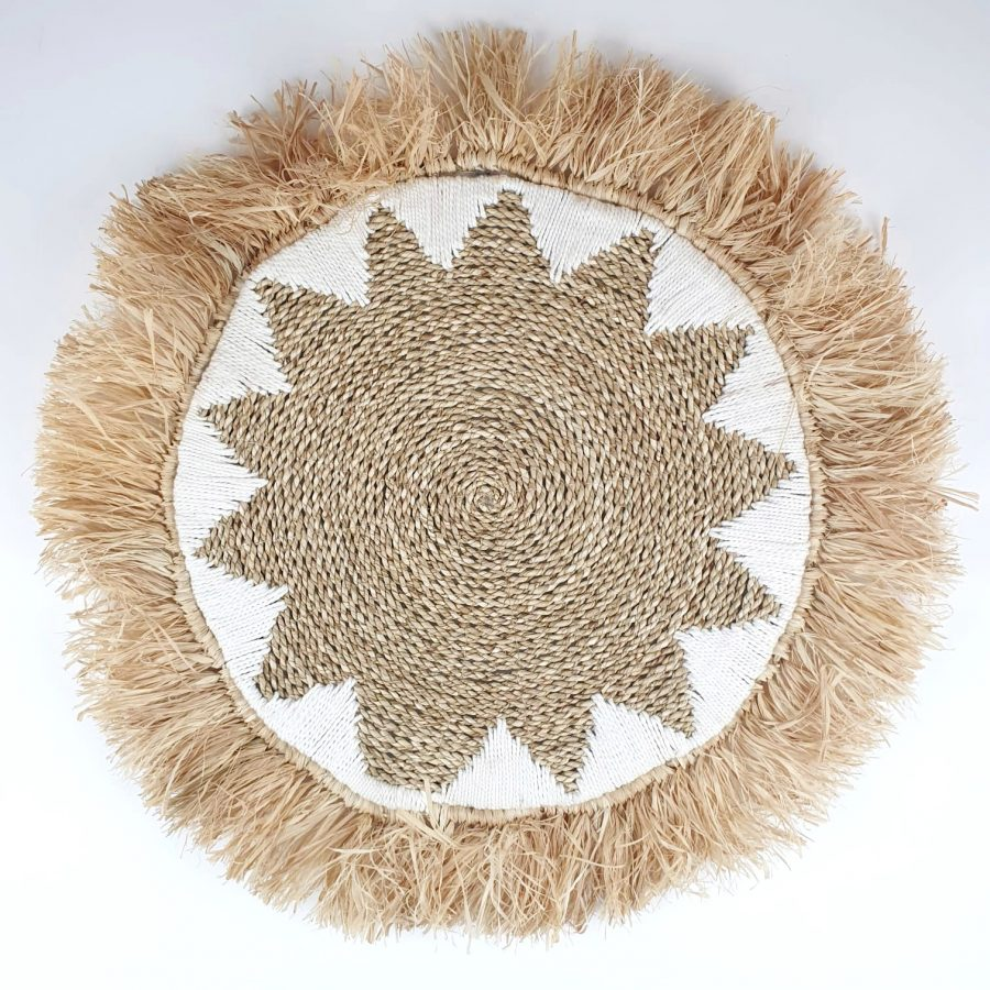 The fringes start white Bali placemat