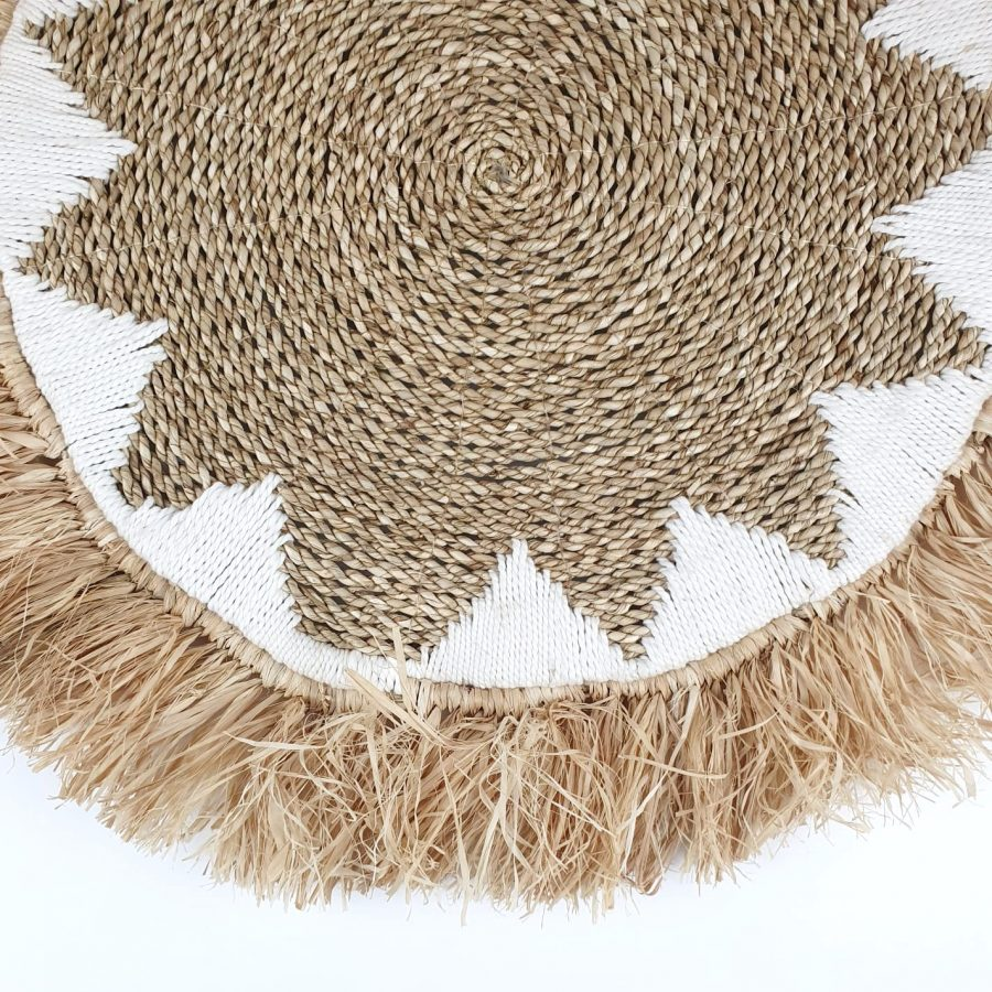 The fringes start white placemat bali