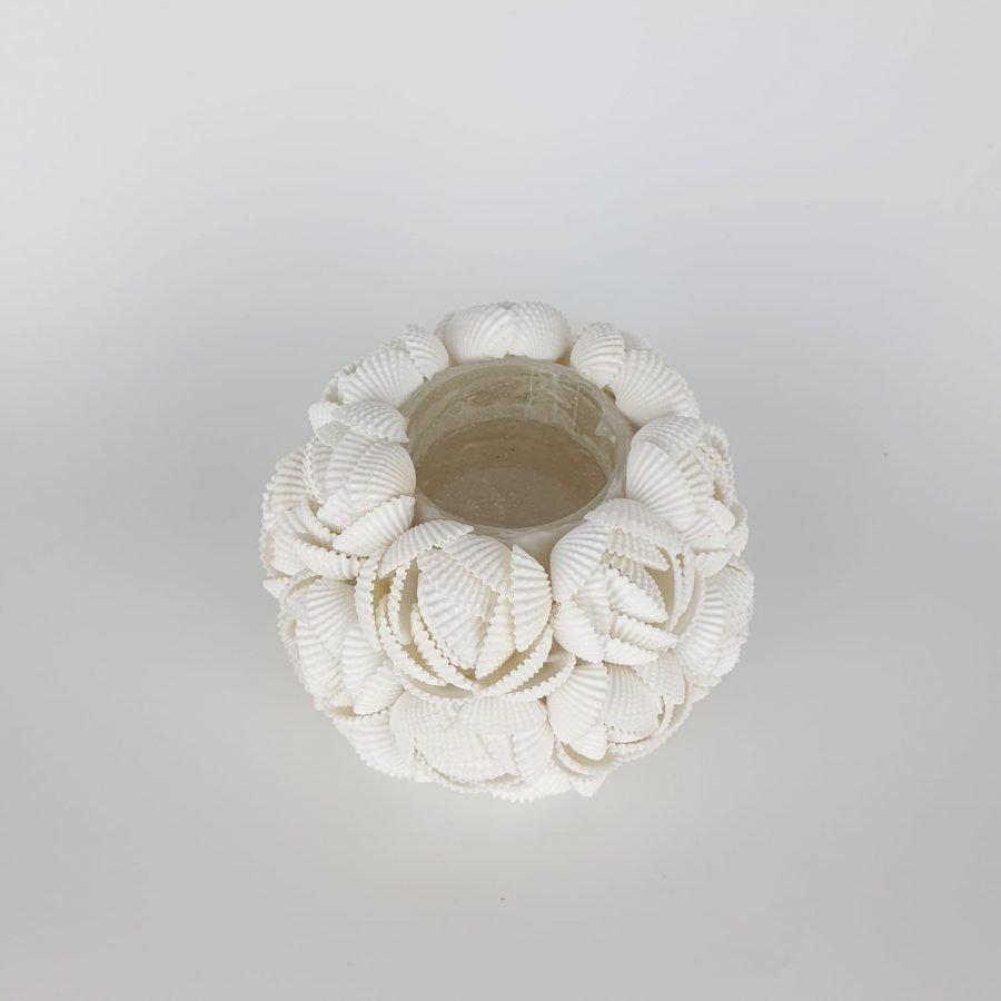 Waxinelichthouder schelp roos 1