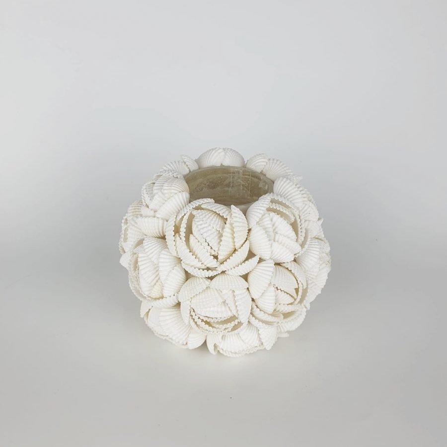 Waxinelichthouder schelp roos 2